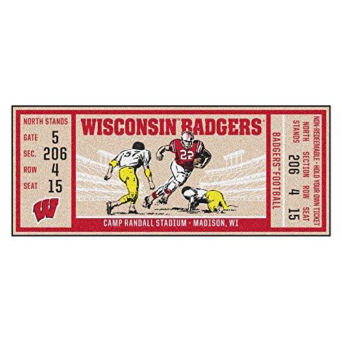 FANMATS NCAA Wisconsin Badgers University of Wisconsinticket Runner, Team Color, One ()