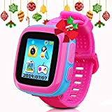Kids Game Smartwatch Digital Smart Watches Photo Sticker Camera Mini Games Alarm Clock Timer Health Monitor Pedometer Birthday Gifts for Boys and Girls Age 3-12 Years(Pink)