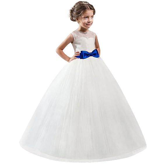 825773bfa8353 HUAANIUE Soirée Robe de Cérémonie Princesse Simple Fille Mariage Robes  Demoiselle d'Honneur Taille Nœud