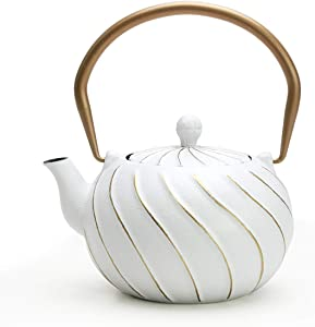 Tea Kettle, TOPTIER Japanese Cast Iron Teapot with Stainless Steel Infuser, Cast Iron Tea Kettle Stovetop Safe, Wave Design Teapot Coated with Enameled Interior for 30 Ounce (900 ml), White