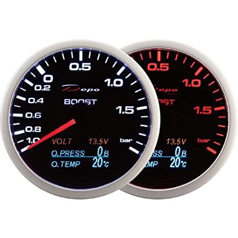 Accesorios 4-en-1 Car Performance - Depo Racing 60 mm. Boost Turbo Gauge, Volt Gauge, ...