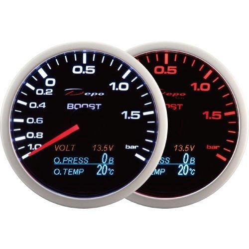 Compteur Depo Racing 60 mm Compteur Turbo Boost avec jauge de tension, de pression, et de tempé rature d'huile 4 en 1 (en Bar et en ° C). et de tempé rature d' huile 4 en 1 (en Bar et en ° C). CarLab