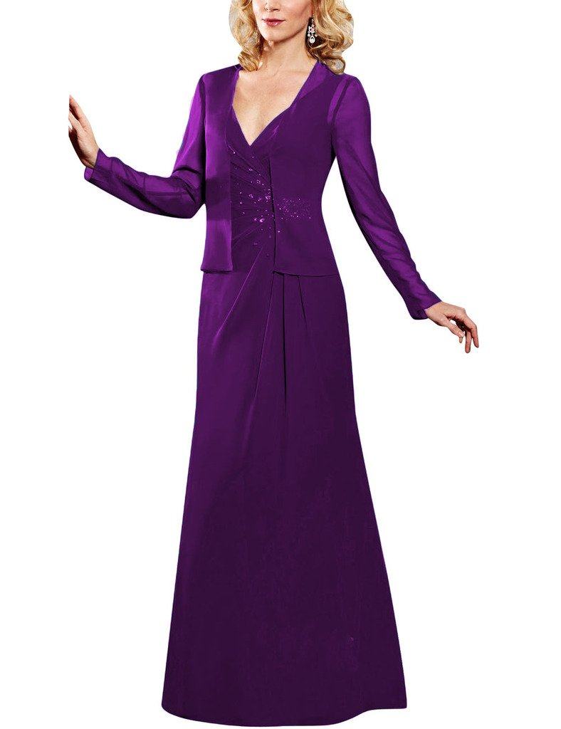 95b1941525233 H.S.D Beads Chiffon Long Sleeves Jacket Mother of the Bride Dresses Formal  Gowns US 18W