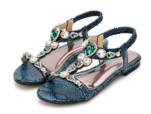 Dame Design Sandales Bohème Bout Classiques d'été Vert Fortuning's Plat JDS® Ouvert à à Sandales Fond Hqa5WAw