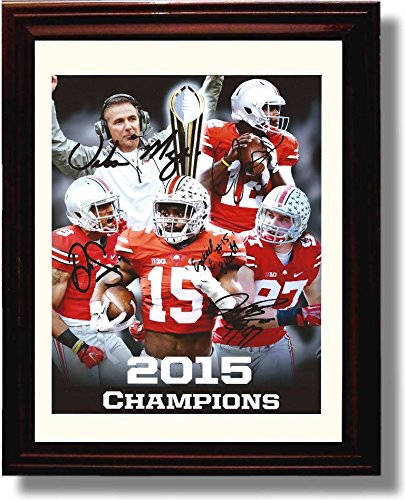 Framed 2015 Ohio State National Championship Autograph Print - Coach Meyer, Jones, Smith, Elliott, Bosa