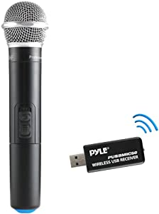 Updated Premium UHF Wireless Microphone - USB Microphone, UHF Microphone with USB Receiver for PC Computer and Laptop, Ideal for Podcasting, Voice-Over Projects, Karaoke & More - Pyle PUSBMIC50
