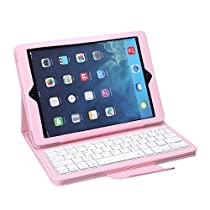 NEWSTYLE iPad Air 2 Keyboard Case - Protective Leather Case with Removable Wireless Bluetooth Keyboard for iPad Air 2 / iPad Air 2nd Generation / iPad 6, Pink
