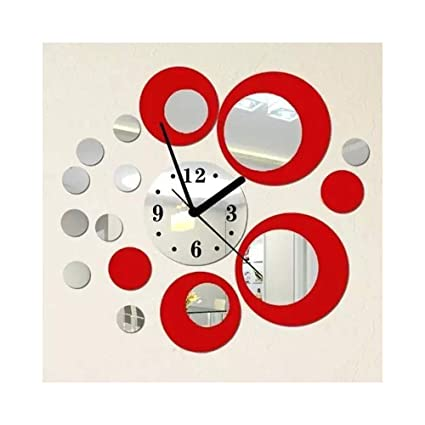 Alrens_DIY(TM) Red and Silver Rounds Wall Clock Mirror Wall Clock Modern Design Removable