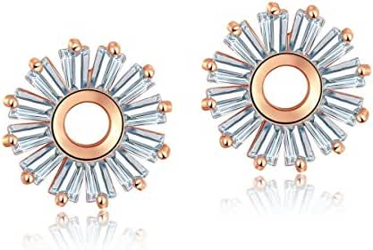 CARSINEL Women's Sunflower Stud Earrings Rose Gold Plated with Cubic Zirconia