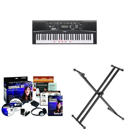 Yamaha EZ220 61-Key Portable Keyboard + Yamaha SKB2 Survival