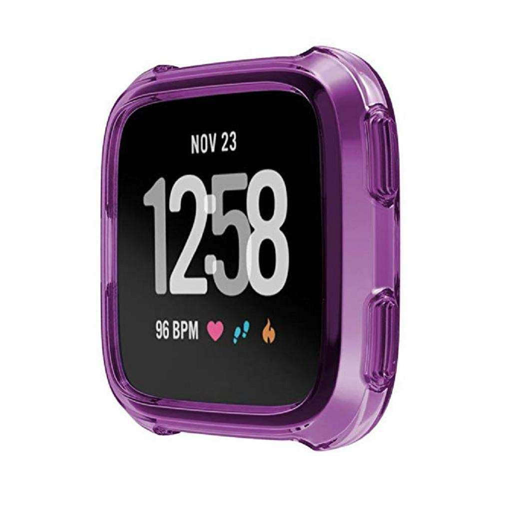 Fashion Clearance! Noopvan Fitbit Versa Protector, Soft TPU Protection Silicone Full Case Cover for Fitbit Versa (Purple)