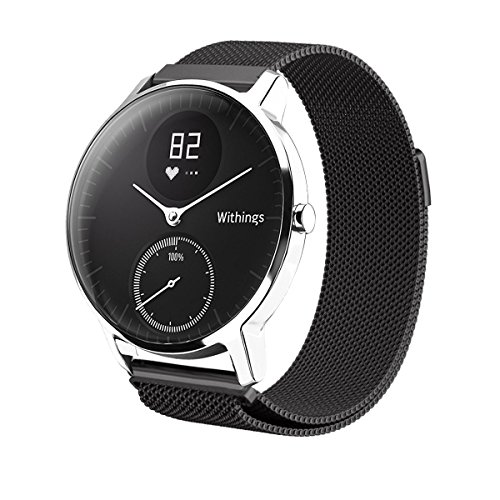 Balerion Band for Nokia steel ,Withings Steel HR 36MM,Activit Sapphire an,Mesh band with Magnetic Lock/Closure Clasp Mesh Loop Stainless Steel Band for Withings Steel HR 36MM-Mesh Black 36MM