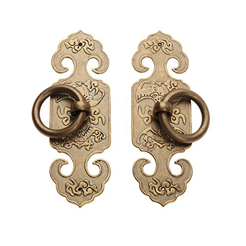 (Dophee 1Pair Vintage Farmhouse Style Design Double Door Pull Handles for Cabinet Closet Wood Furniture Hardware, Antique Brass, Large Size 3.94