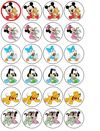 24 Baby Mickey and Friends Cupcake Toppers