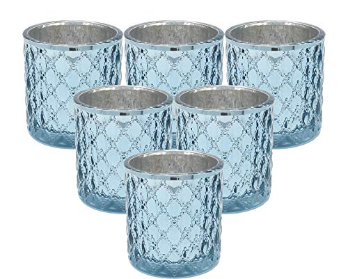 Ms Lovely Large Quilted Glass Votive Tealight Candle Holders - Bulk Set of 6 - Light Blue