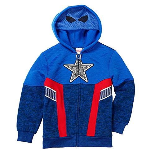 Marvel Avengers Captain America Little Boys Fleece Zip Up Hoodie ()