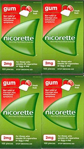 Nicorette Nicotine Gum: FRESH FRUIT 2 MG (4 packs of 105, 420 Pieces) (Stop Smoking