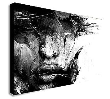 Abstrait Noir Et Blanc Visage Feminin Impression Sur Toile