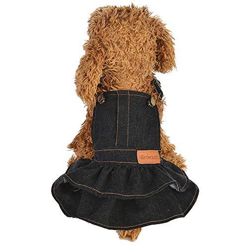 MALLOOM Dog Dress Puppy Cat Denim Dresses Pet Jean Clothes Pet Apparels Accessories (Small, Black)