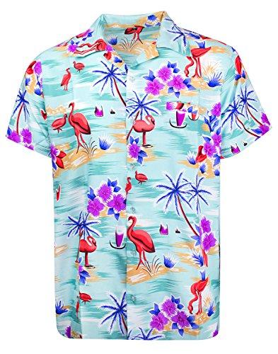 King Kameha Hawaiian Shirt for Men Funky Casual Button Down Very Loud Shortsleeve Unisex Hibiscus