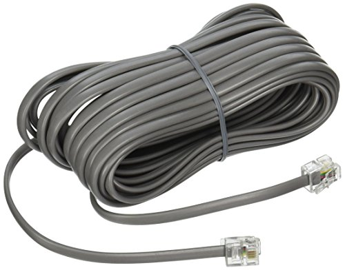 Silver Satin Phone - Premium Telephone Line Cord Heavy Duty Silver Satin 4 Conductor 25-ft by TeleDirect