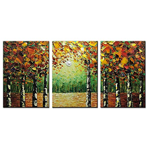 """Desihum - 100% Hand-Painted 3 Piece Oil Painting Landscape Trees Forest Wall Art Modern Abstract Contemporary Artwork Stretched Wood Framed Ready Hang Home Decoration Wall Decor Living Room (30""""x60"""")"""
