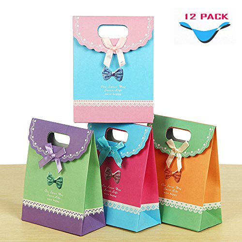 [Geekercity Gift Bags - Cute Bow-knot Fashion Elegant Bright Gift Bag, Perfect Bag for Your Gift [12 PACK] [1 Dozen] [Color] (Cute Halloween Names For Kittens)