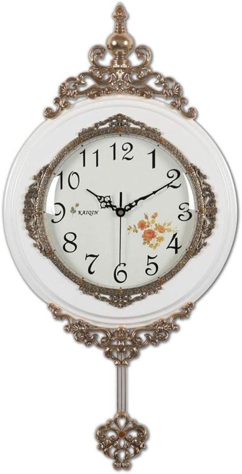 ヨーロッパのソリッドウッドウォールクロックミュート時計リビングルームのファッションクォーツ時計ハンギング表 現代大時計 Chihen (Color : B)