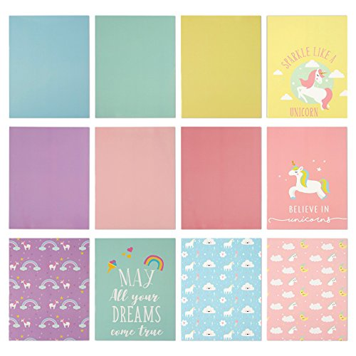 Two Pocket Folders Bulk - 12-Pack Letter Size File Folders, 12 Unicorn and Color Designs, School Folders with Pockets, 12 x 9.25 Inches]()