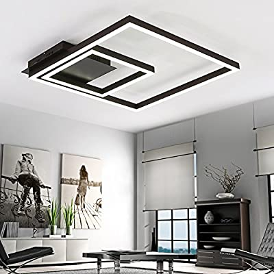 LightInTheBox Remoter Dimming Led Ceiling Light 70Watt Flush Mount Ceiling Lighting Fixture Aluminium Black Chandeliers Painting Finish for Living Room Foyer