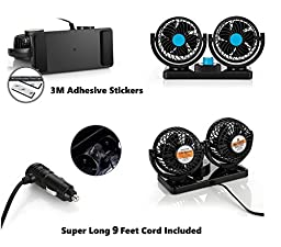 AboveTEK 12V DC Electric Car Fan - Rotatable 2 Speed Dual Blade with 9FT Cord - Quiet Strong Dashboard Cooling Fan for Sedan SUV RV Boat Auto Vehicles - Effectively Blow Out Hot Air, Smoke, Odors