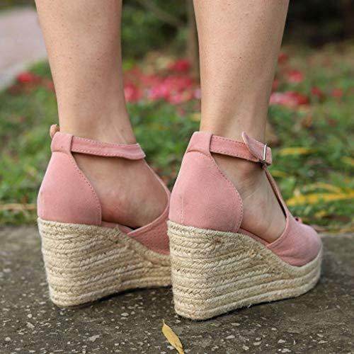 2714144b07f JJLIKER Women Chunky Platform Wedges Sandals Peep Toe Ankle Buckle Strap  Shoes Espadrille Non-Slip
