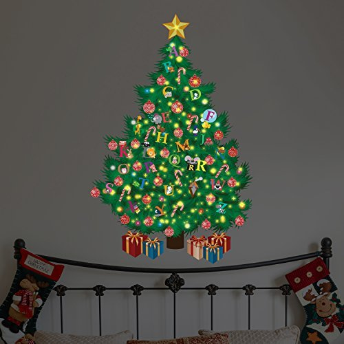 Wallflexi Christmas Decorations Wall Stickers ' Glow in Dark Christmas Tree with Alphabets ' Wall Murals Decals living Room Children Nursery School Restaurant Cafe Hotel Home Office Dé cor, multicolour WFXC9315