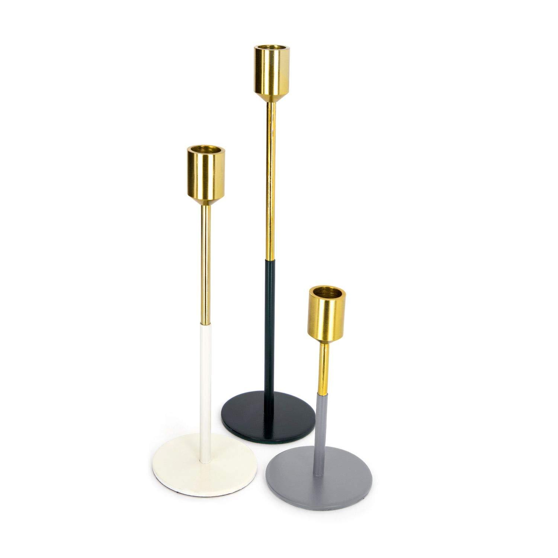 Kerzenleuchter aus Messing versilbert Kerzenhalter für Stabkerzen Tischdeko