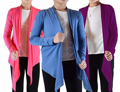 Dinamit Jeans Big Girls 3 Pack Long Sleeve Flyaway Cardigan Sweater (3-Pack)