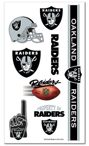 Oakland Raiders NFL Temporary Tattoos (10 Tattoos) ()