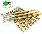 10Pcs Pack HSS Titanium Nitride Coated Jobber Length Drill Bit Hex Shank 135 Point Deg. Split Point, General Purpose Drilling Mild Steel, Copper, Aluminum, Zinc Alloy.. Pack in Plastic Bag (3/16)