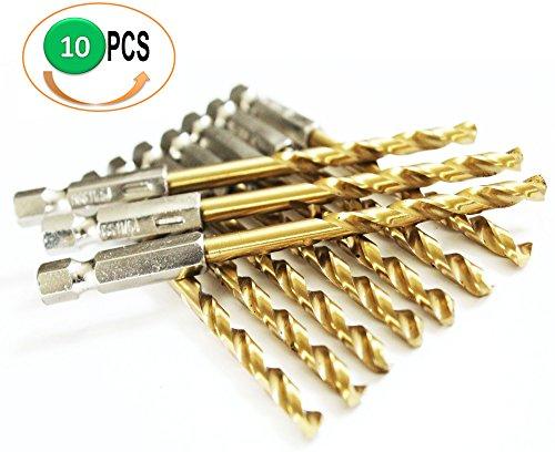 10Pcs Pack HSS Titanium Nitride Coated Jobber Length Drill Bit Hex Shank 135 Point Deg. Split Point, General Purpose Drilling Mild Steel, Copper, Aluminum, Zinc Alloy.. Pack in Plastic Bag (3/16) by Power Max
