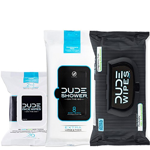 DUDE Wipes, Flushable, Shower & Face Combo, Unscented with Natural Soothing Vitamin-E & Aloe (48ct Flushable, 8ct Shower, 30ct (Dude Shower)