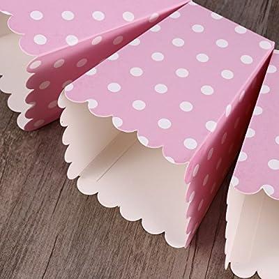 NUOLUX 24pcs compartimiento de las palomitas ponen las bolsitas de papel bocado dise/ño punto para las tablas del postre teatro de la pel/ícula que casan favores Pink
