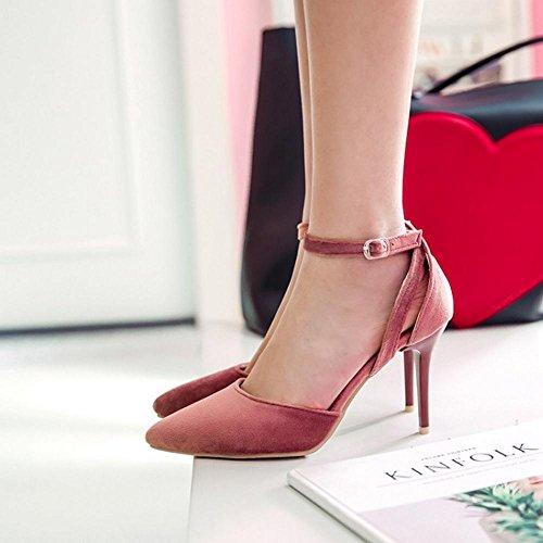 TAOFFEN Sandales Femmes Pink Bride D'Orsay Talons Cheville zq8ngq