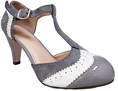 Chase & Chloe Kimmy-66 Closed Toe T-Strap Two Tone Oxford Pumps (8.5 M US, Grey/White)
