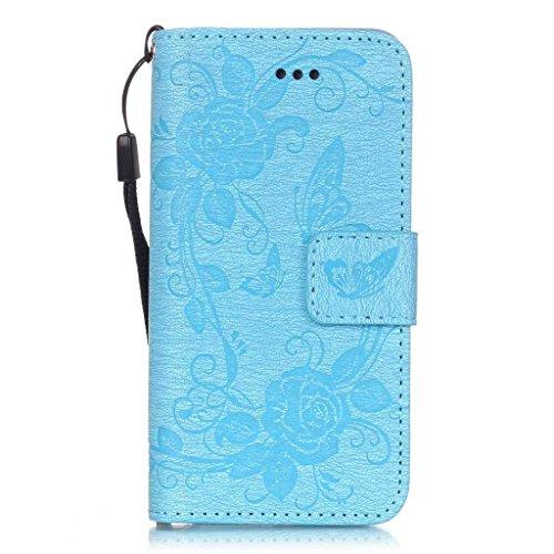 Uming® Dibujo de estampado floración de la flor de la mariposa Patrón de la serie de caja de la PU de la pistolera Caso Holster case ( Dark Blue Butterfly - para Samsung Galaxy S7Edge G935 ) de cuero  Light Blue Butterfly