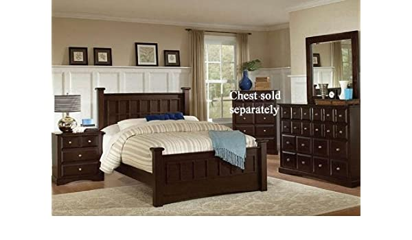 Amazon.com: 4pc California King Size Bedroom Set in Cappuccino ...