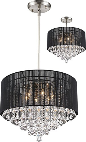 Z-Lite 890-24BK-C Aura - Six Light Pendant, Brushed Nickel Finish with Black Glass with String Shade