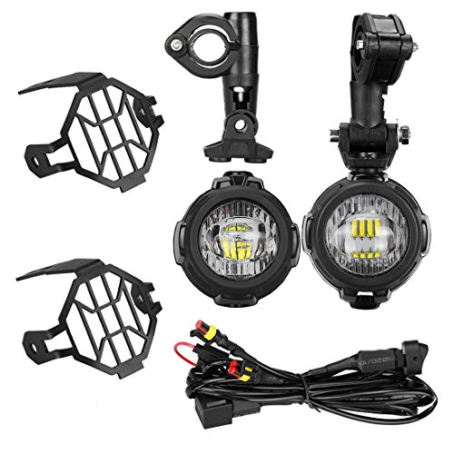 Guard Kit Headlight (40W LED Auxiliary Lamp 6000K Super Bright Fog Driving Light Kits with Protect Guards Wiring Harness For Motorcycle BMW K1600 R1200G)