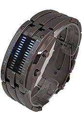 Generic Staineless Steel Binary Digital Watch Quartz Knight LED Underwater Waterproof Men's Wristwatch
