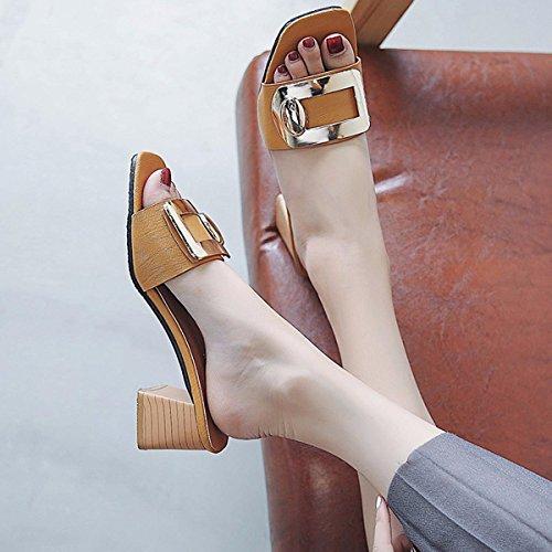 Sandalias Sandalias Amarillo Cadenas Zapatillas De Señoras Zapatos Llevar Metal De Tacones Sandalias QPSSP q6g8A