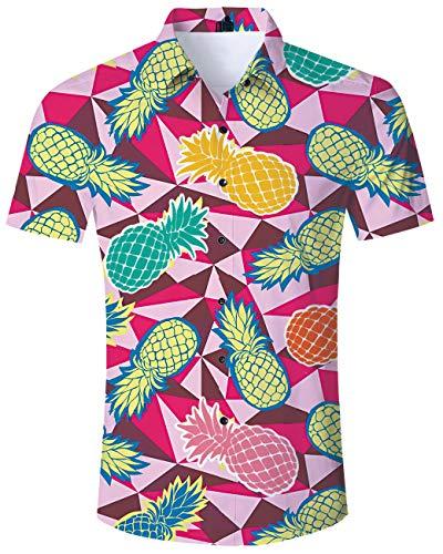 (TUONROAD Funny Hot Printed Pattern Funky Cute Black Short Sleeve Dress Polo Shirts Vibrant Colored Pineapple Ananas Men Button Down Shirt Casual Retro Awesome Hawaiian Aloha Attire Shirt Hawaiian Top)