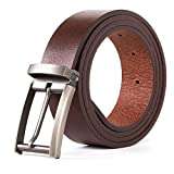 Dycarfell Men Genuine Leather Belt - length is adjustable Delicate gift box,10-Year Warranty (48 in, Brown)